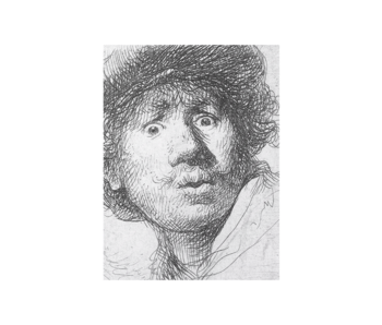 Artist Journal,  Rembrandt, ets, Verbaasde blik