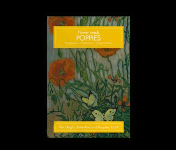 Carte postale avec graines, Van Gogh, papillons et coquelicots