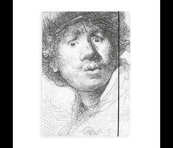 Porte-documents avec bande élastique, Rembrandt, visage curieux
