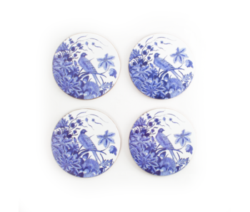 Posavasos, juego de 4, Azul de Delft, pájaro azul, Rijksmuseum
