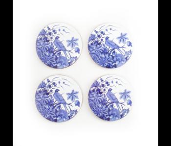 Untersetzer rund, 4er-Set, Delfter blauer Vogel, Rijksmuseum
