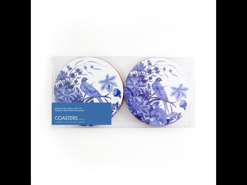 Set of 4 round coasters , Delft blue Bird, Rijksmuseum