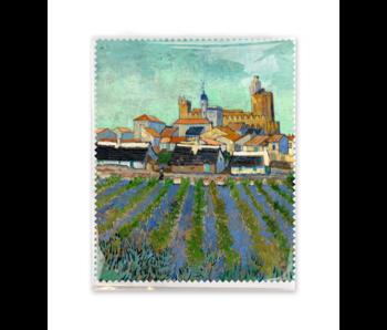 Brillendoekje, 15x18 cm, Gezicht op Saintes-Maries-de-la-Mer, Van Gogh