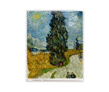 Lens cloth, 15x18 cm, Country road in Provence at night, Van Gogh