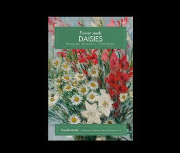 Carte postale avec graines, marguerites, Monet