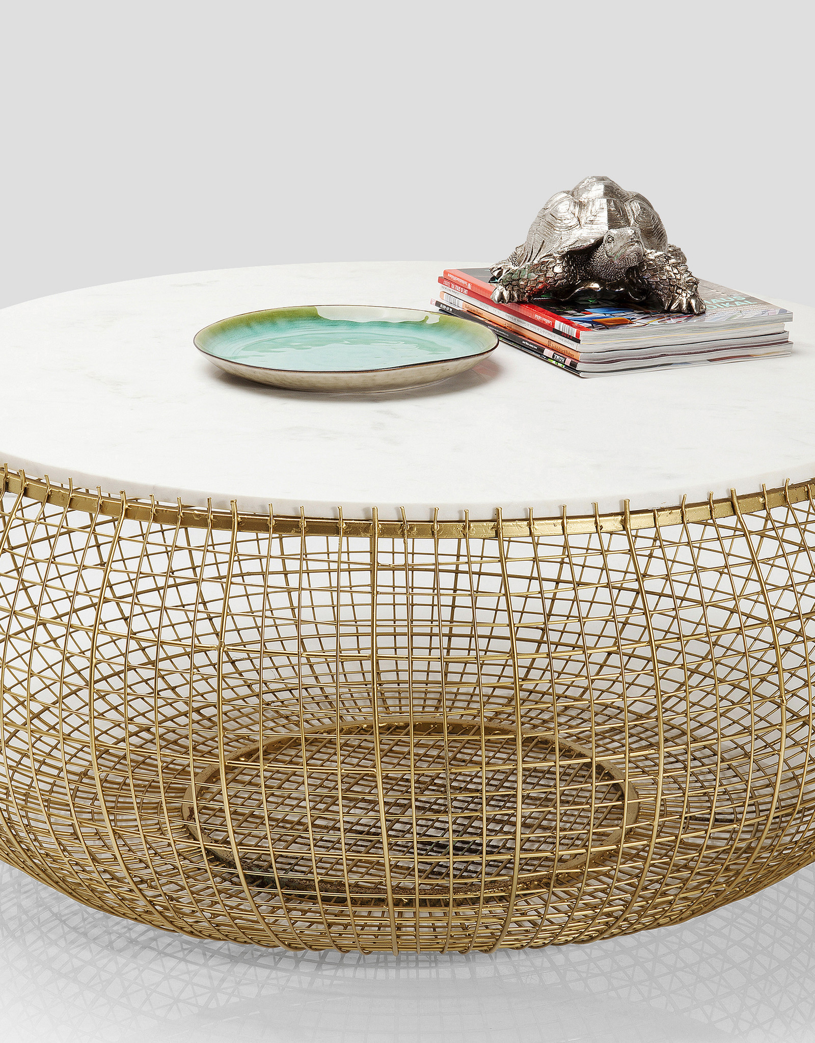 KARE DESIGN Coffee Table Cesta Marble Gold Ø100cm