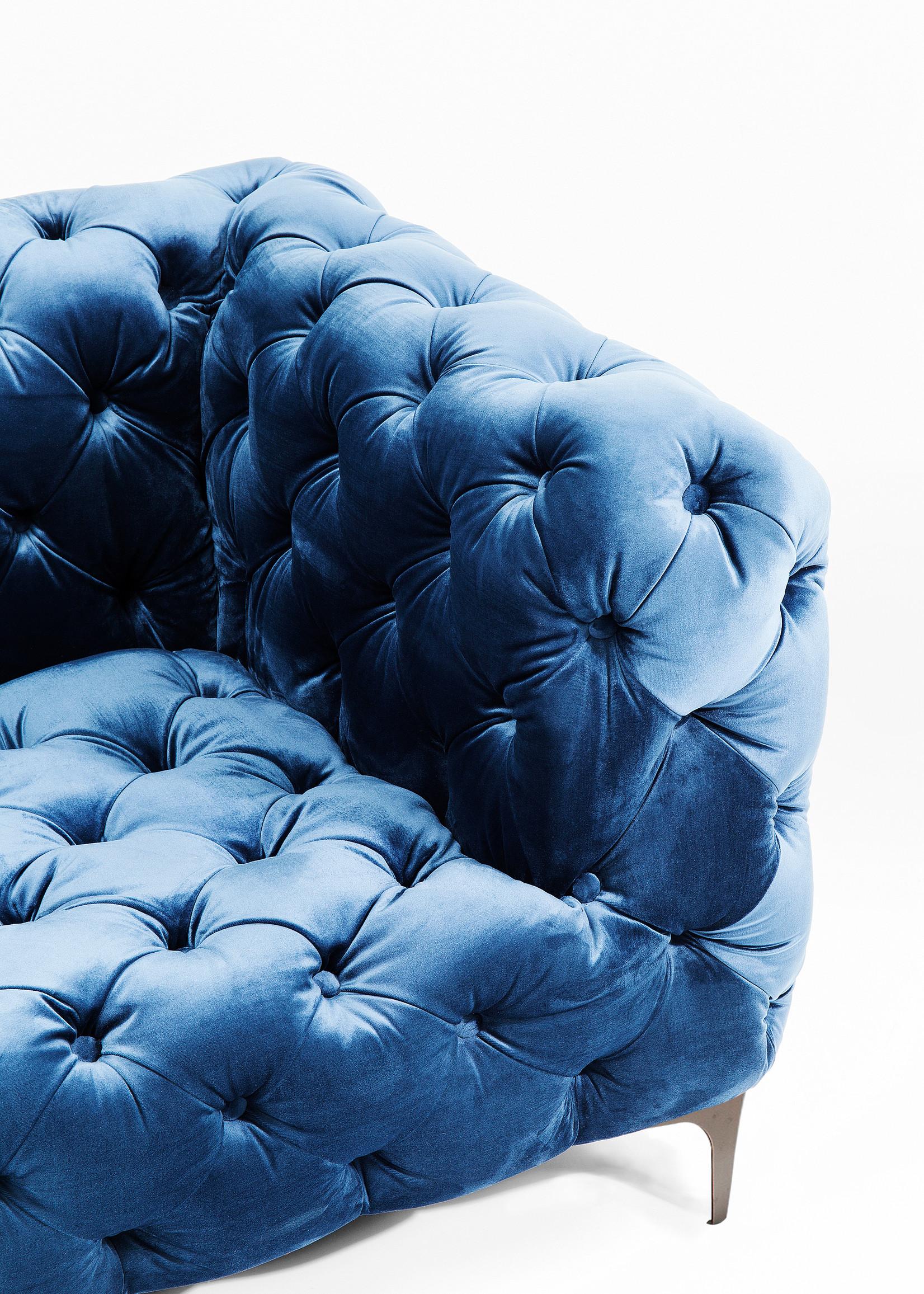 KARE DESIGN Sofa Look 180cm Velvet Blue
