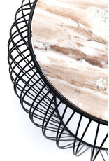 KARE DESIGN Side Table Beam Grey Marble Black Ø43cm
