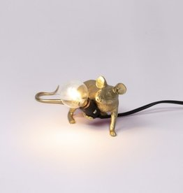 """Selletti """"MOUSE LAMP LOP-GOLD"""" -LYING DOWN"""