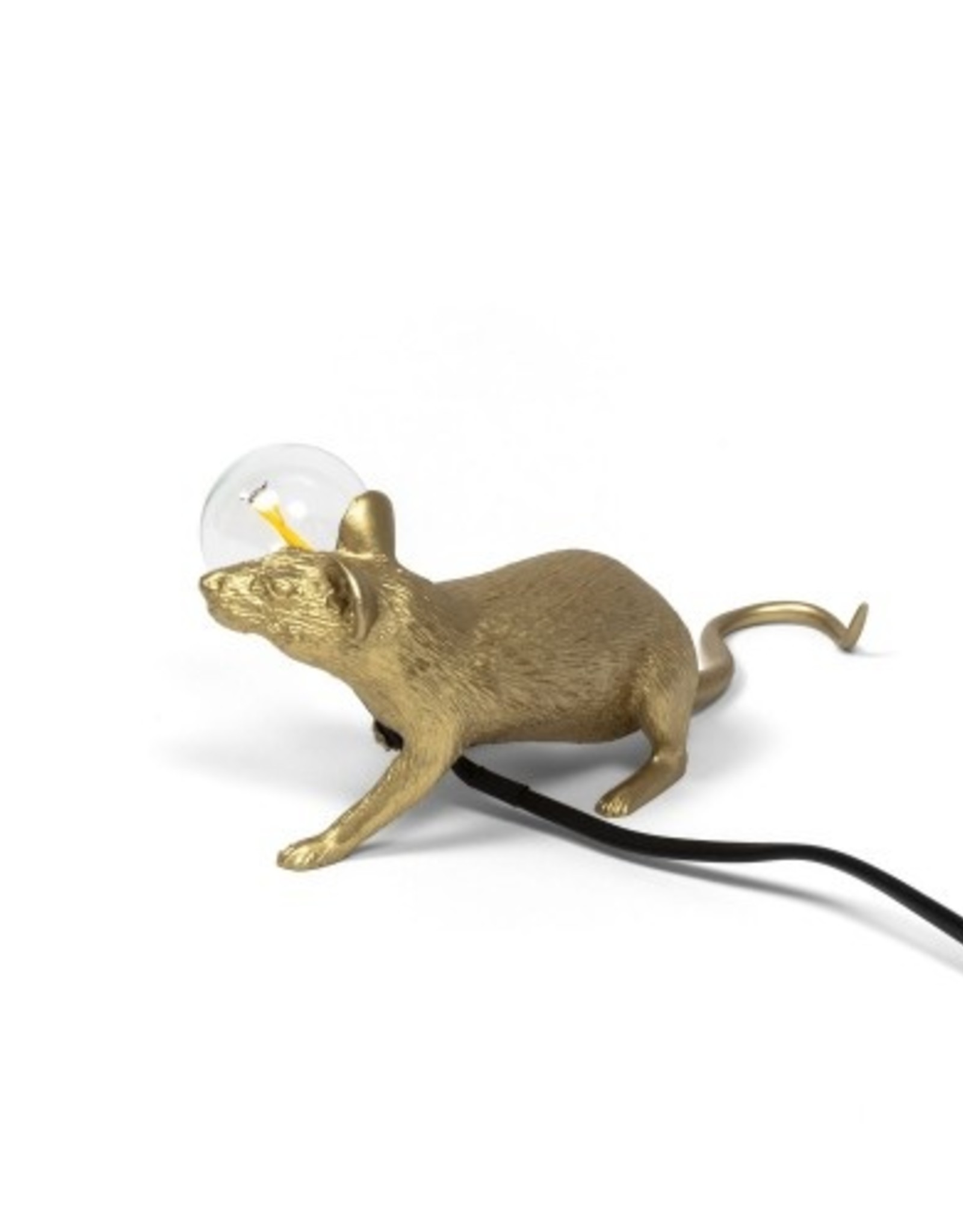 "Seletti ""MOUSE LAMP LOP-GOLD"" -LYING DOWN BLACK CABLE"