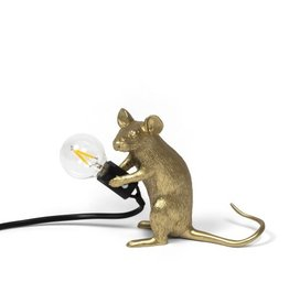 "Seletti ""MOUSE LAMP MAC-GOLD"" - SITTING"