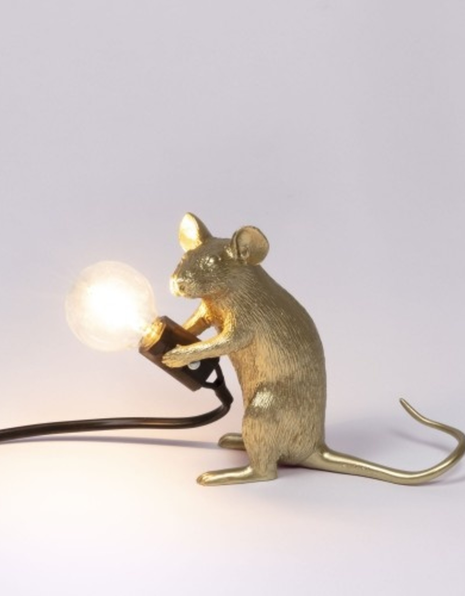 "Seletti ""MOUSE LAMP MAC-GOLD""  SITTING BLACK CABLE"
