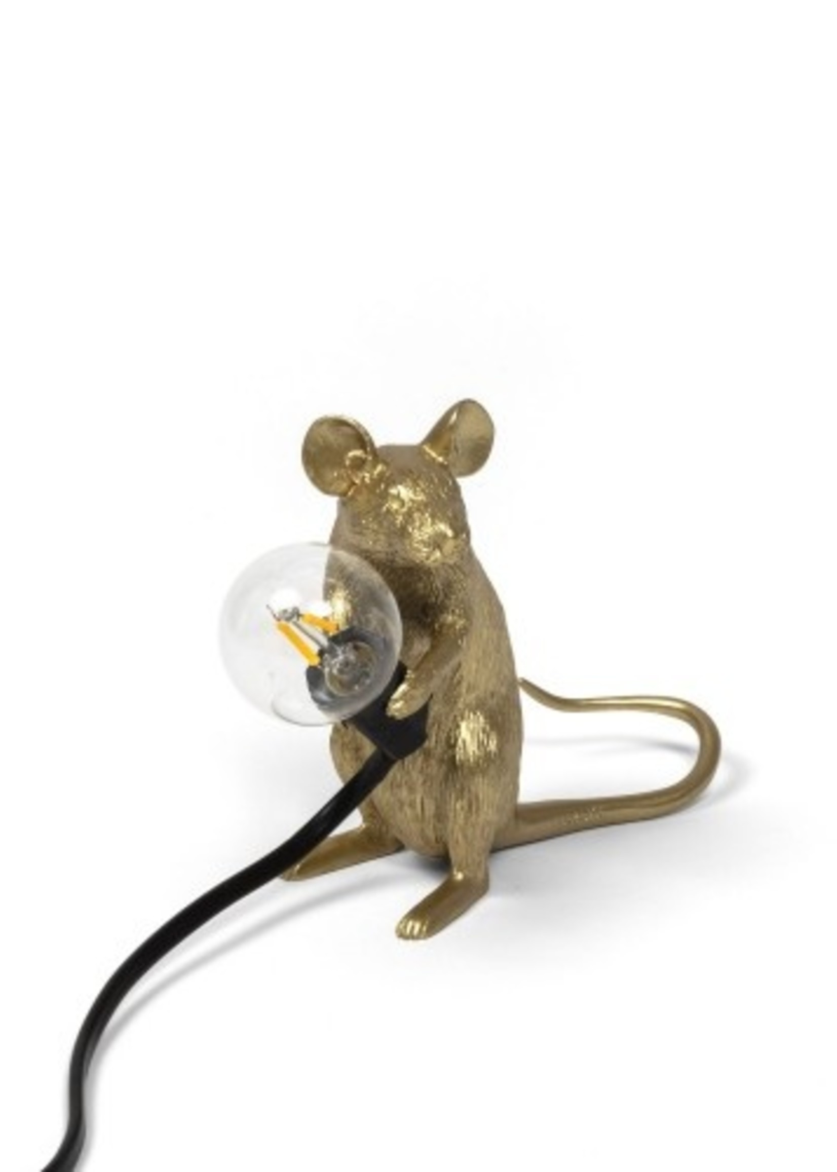 """Seletti """"MOUSE LAMP MAC-GOLD""""  SITTING BLACK CABLE"""