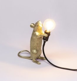 """Selletti """"MOUSE LAMP STEP-GOLD"""" - STANDING"""