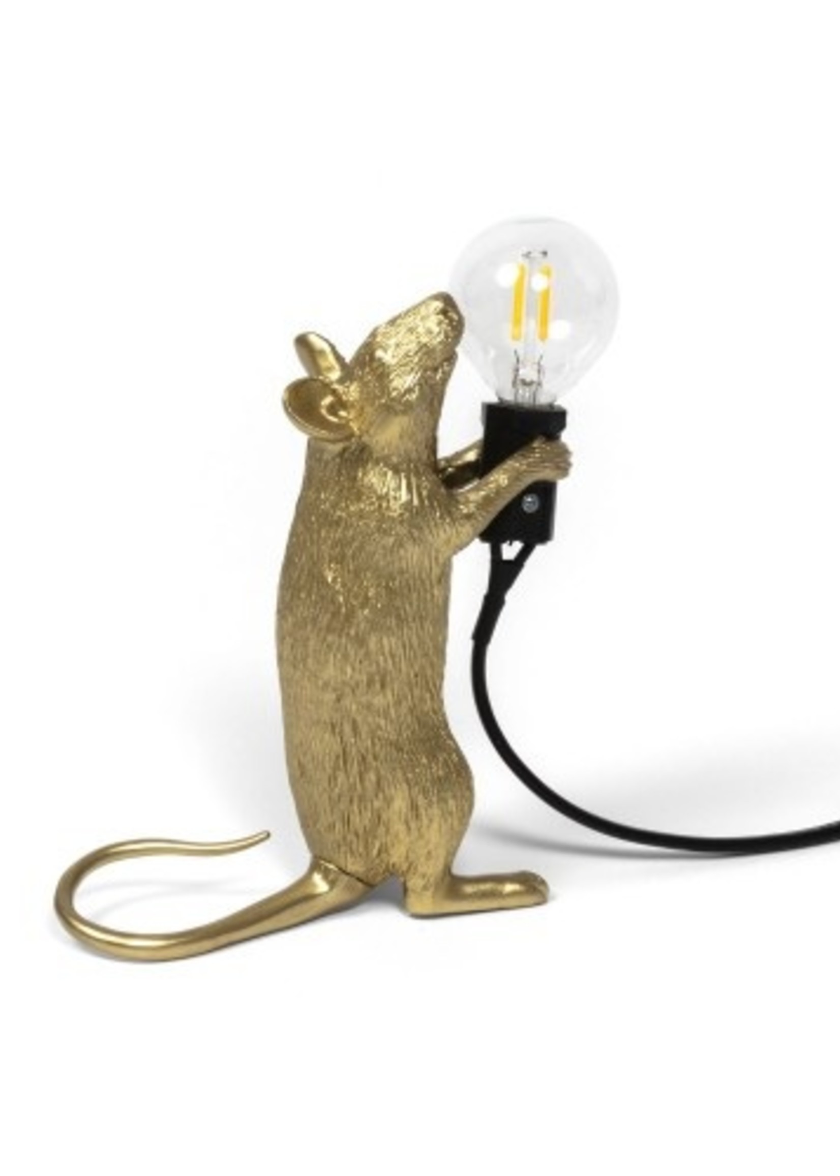 """Seletti """"MOUSE LAMP STEP-GOLD""""- STANDING BLACK WIRE"""