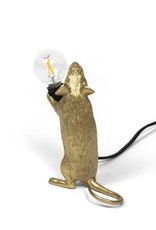 "Seletti ""MOUSE LAMP STEP-GOLD""- STANDING BLACK WIRE"