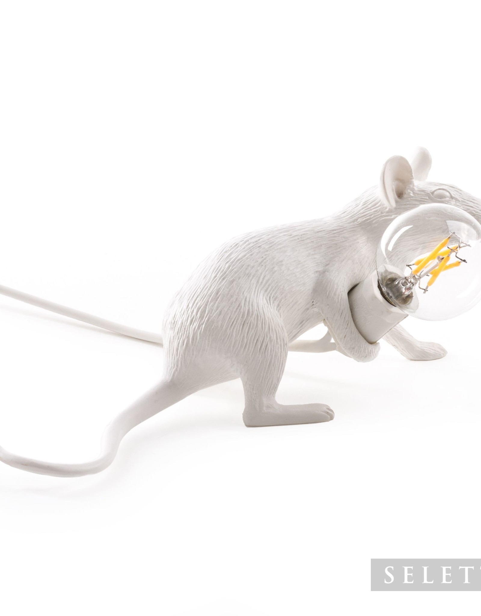 "Seletti ""MOUSE LAMP#3-LOP""  LAMP LIE DOWN - WHITE by Seletti"