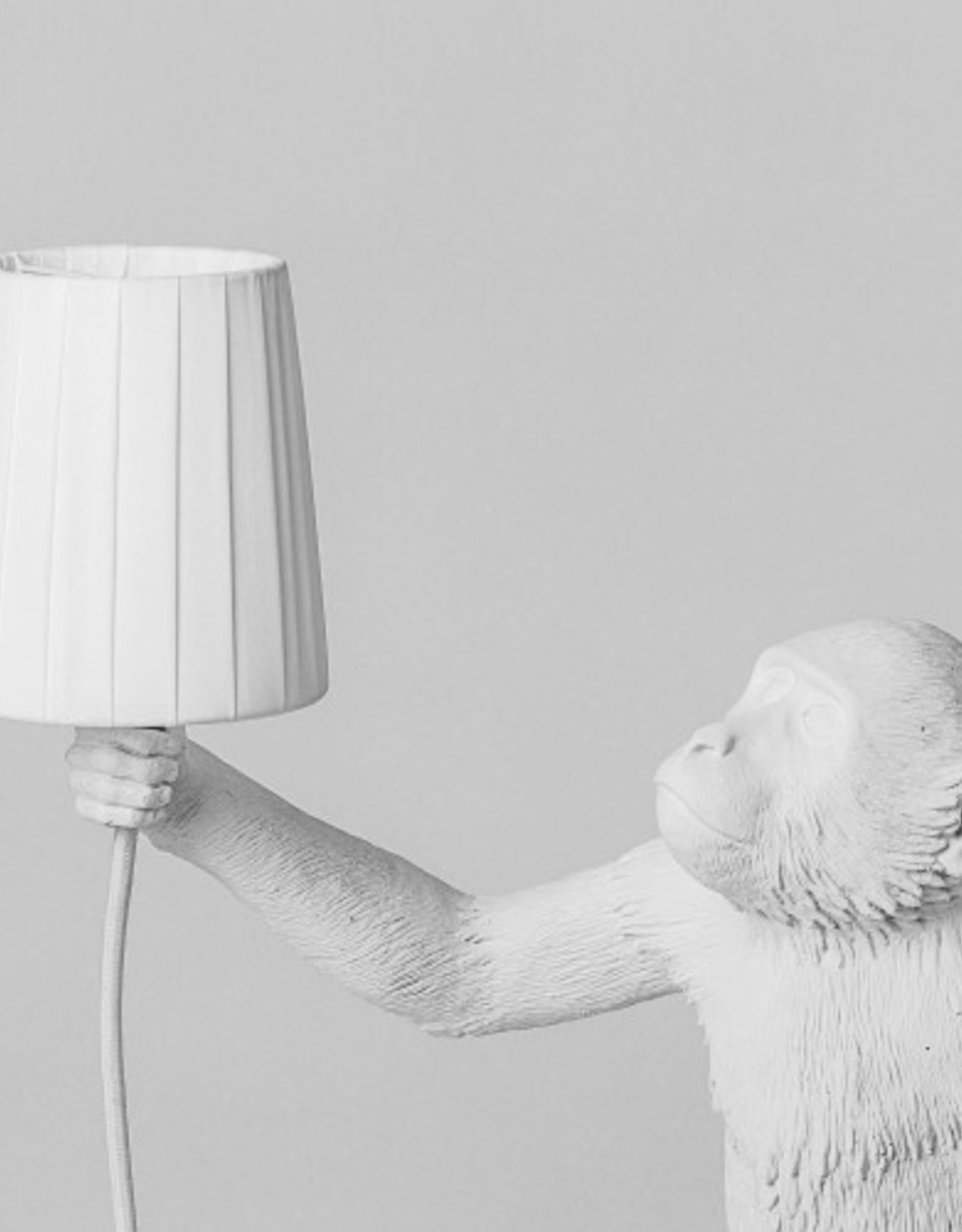 "Seletti METAL LAMPSHADE AND POLYESTER ""MONKEY LAMP"" ø Cm.8,5/11 h.12,3 - WHITE"