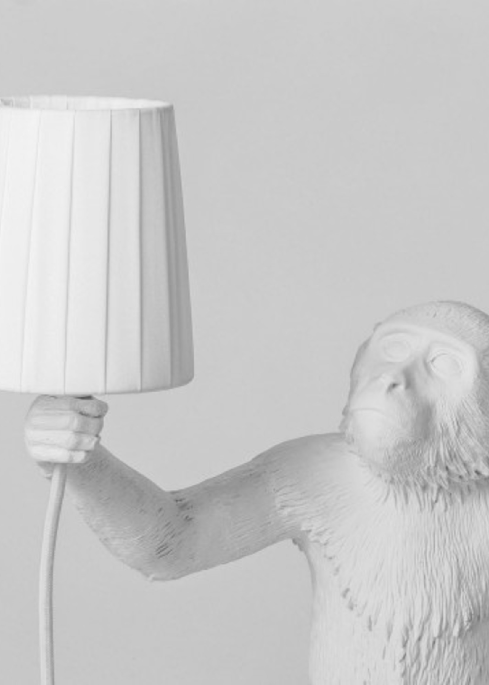 """Seletti LAMPSHADE METAL AND POLYESTER """"MONKEY LAMP"""" ø Cm.8,5/11 h.12,3 - WHITE"""