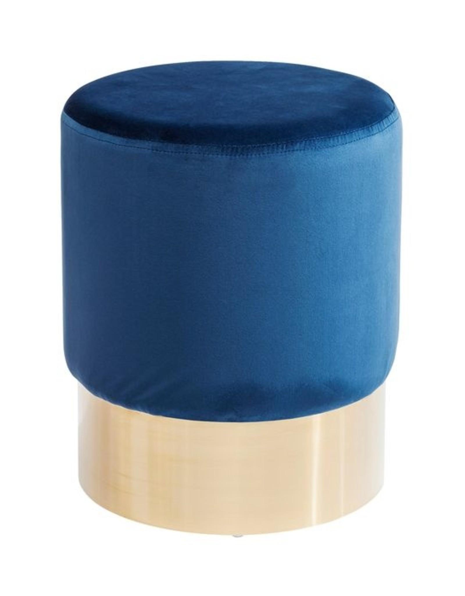 KARE DESIGN Stool Cherry Blue Brass Ø35cm