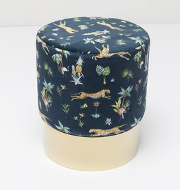 KARE DESIGN Stool Cherry Jungle Leopard Gold Ø35cm