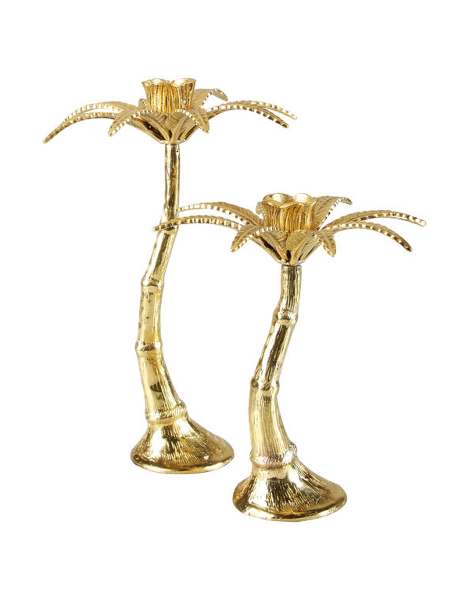 &Klevering Palm tree candle holder brass large