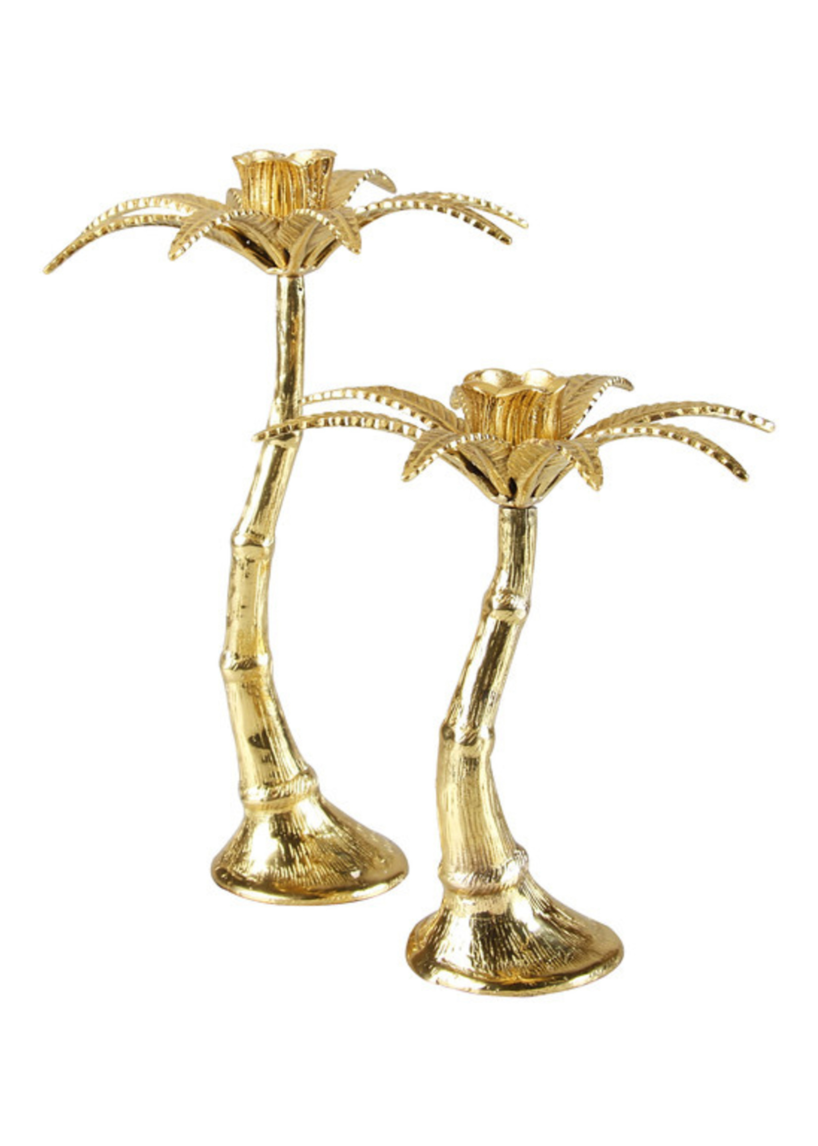 &Klevering Palm tree candle holder brass small