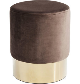 KARE DESIGN Stool Cherry Brown Brass Ø35cm