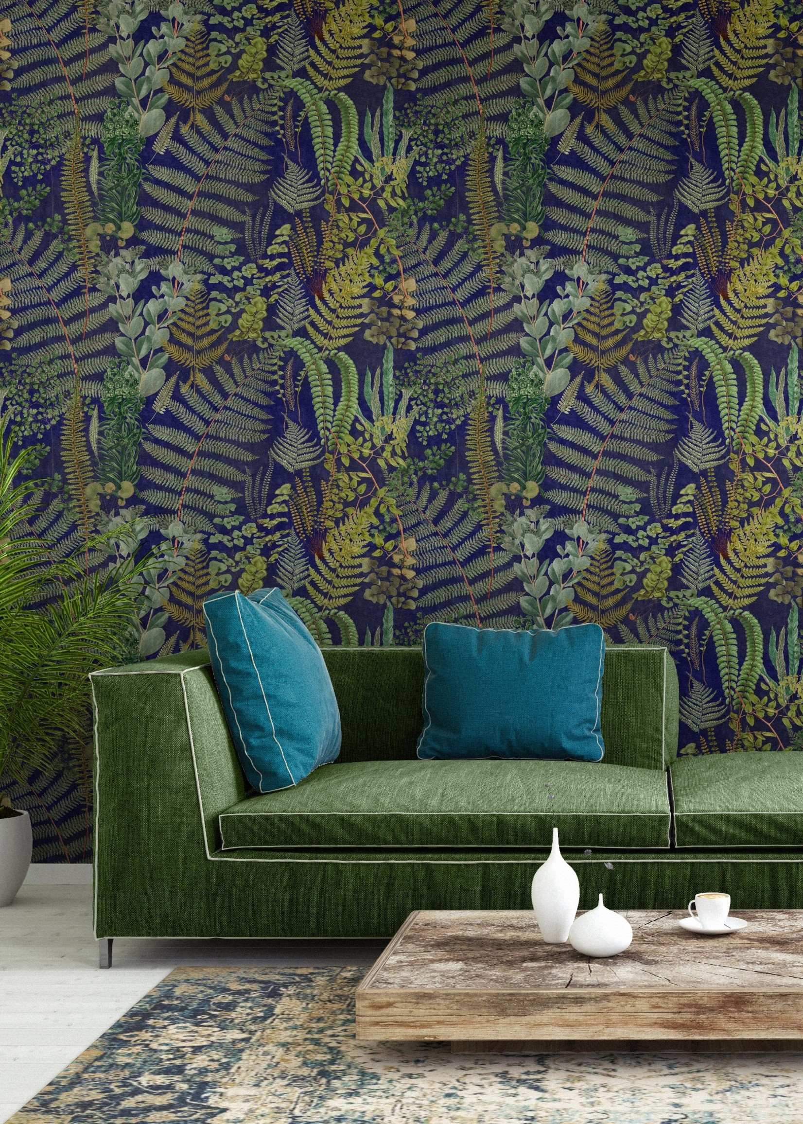 MINDTHEGAP Designer Wallpaper GREEN SANCTUARY Anthracite