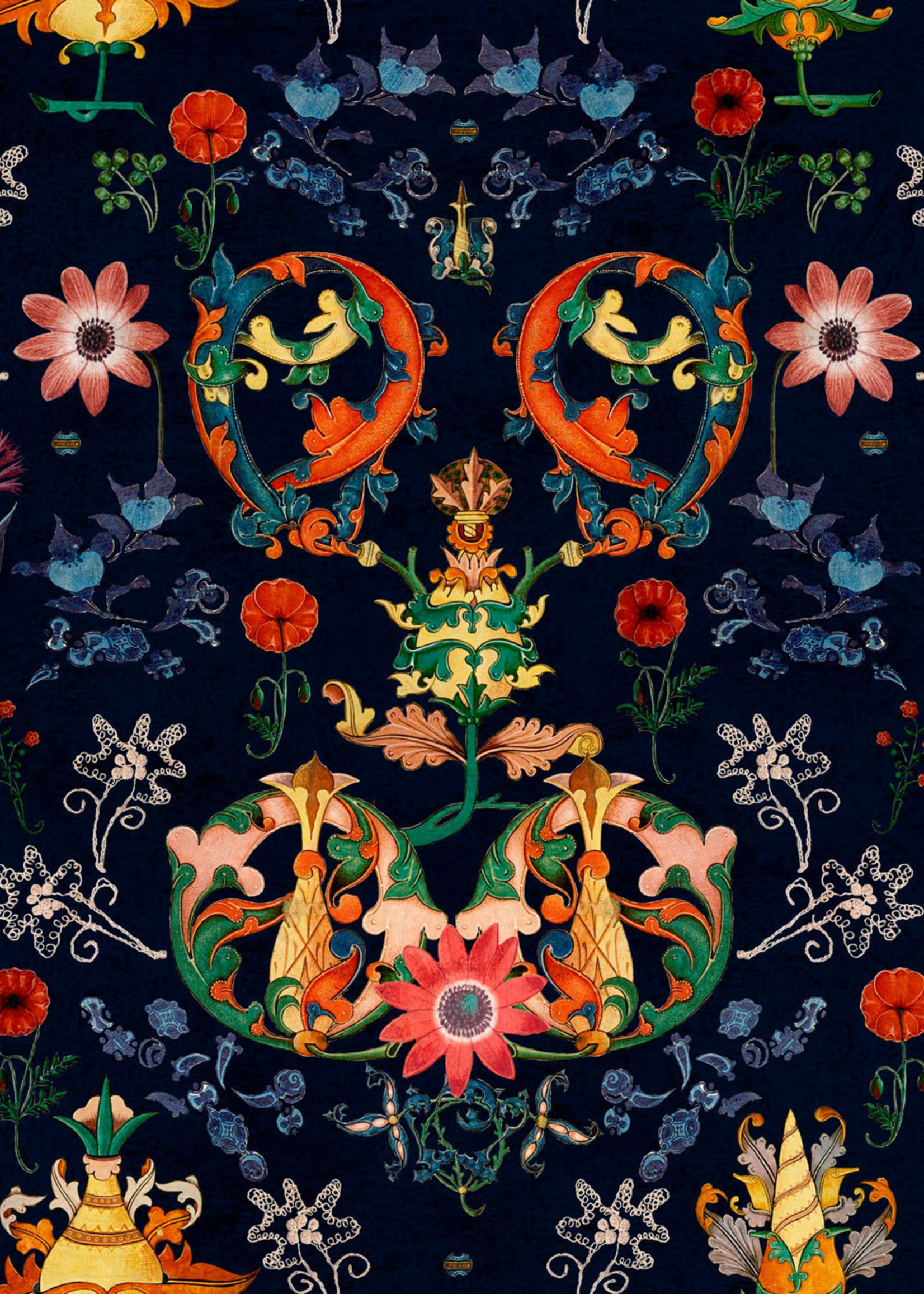 MINDTHEGAP Designer Wallpaper Transilvania FOLK in blue