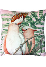 Vanilla Fly VELVET CUSHION COCKATOO PINK 50X50