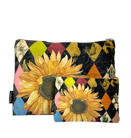 Vanilla Fly MAKEUP BAG & POUCH VELVET - sunflower