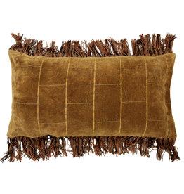 HKliving Cushion shabby velvet ochre (35x70)