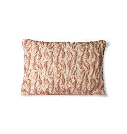 HKliving Floral jacquard weave cushion burgundy/yel low