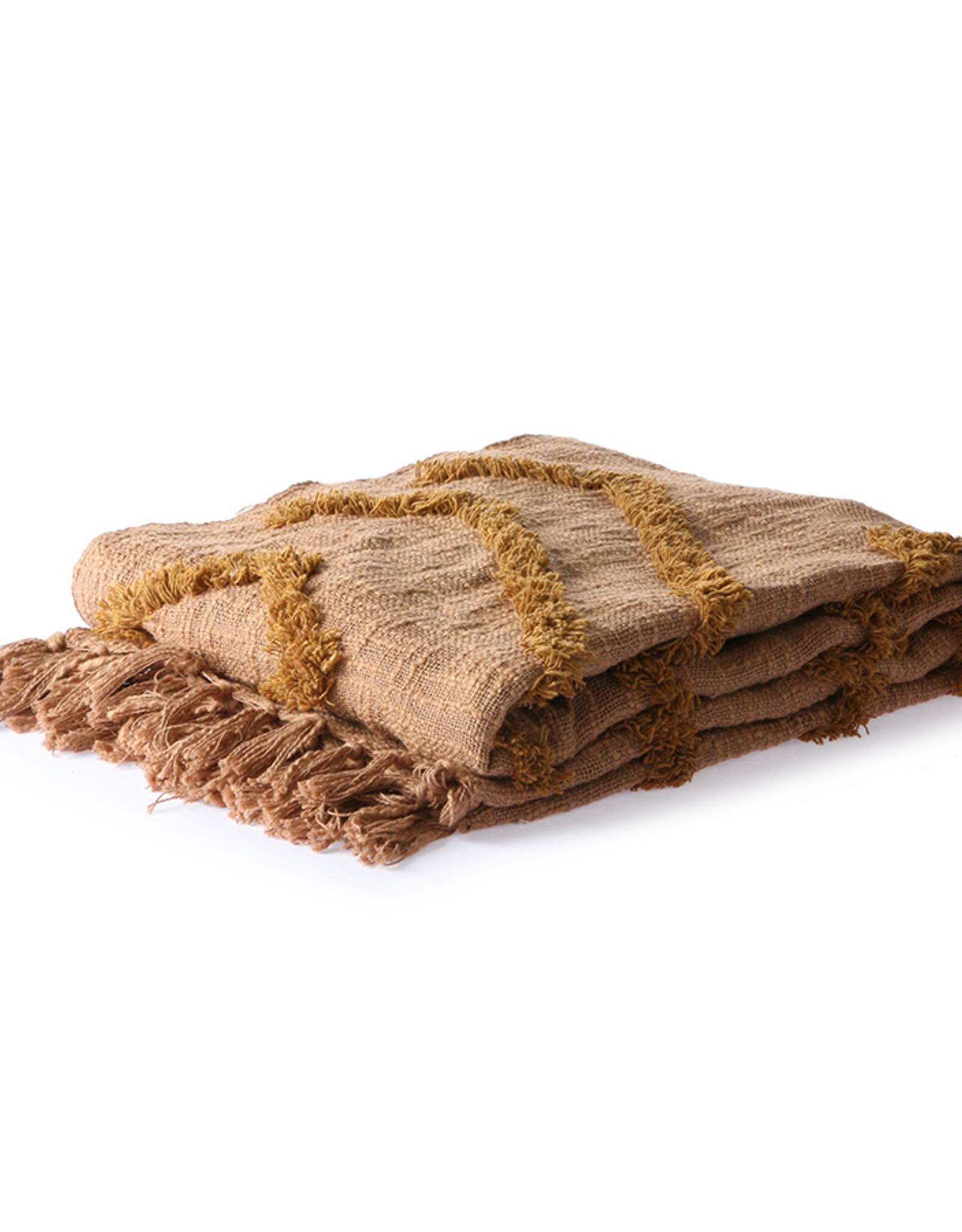 HKliving Cotton fringe pattern throw brown 130 x 170 cm
