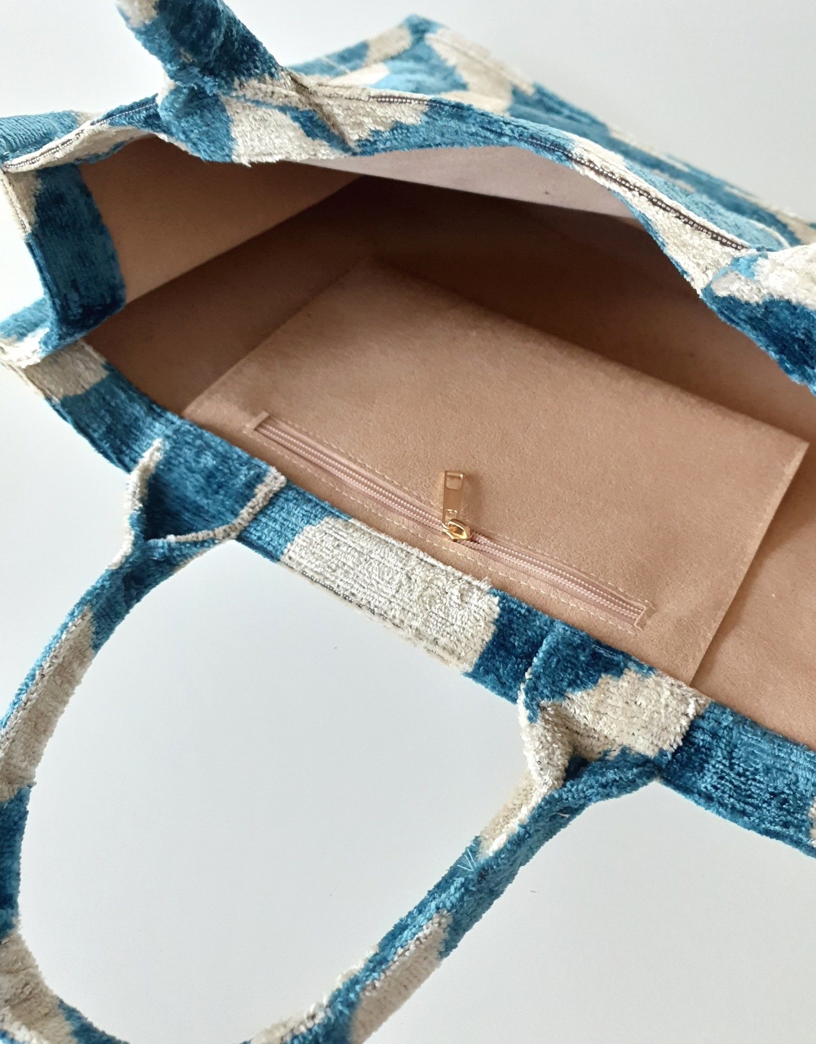 Ikat silk velvet tote bag 4