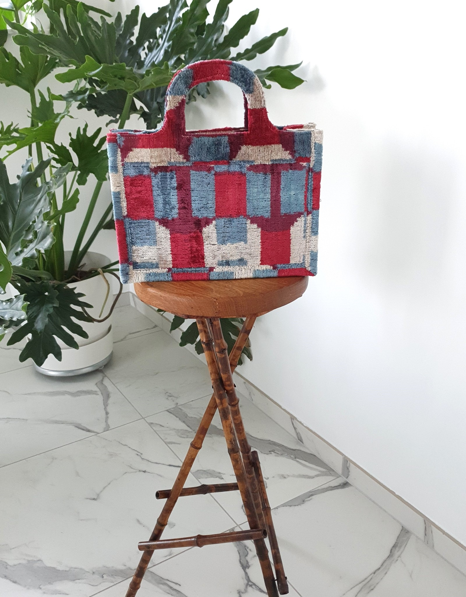 Ikat silk velvet MINI TOTE BAG 4