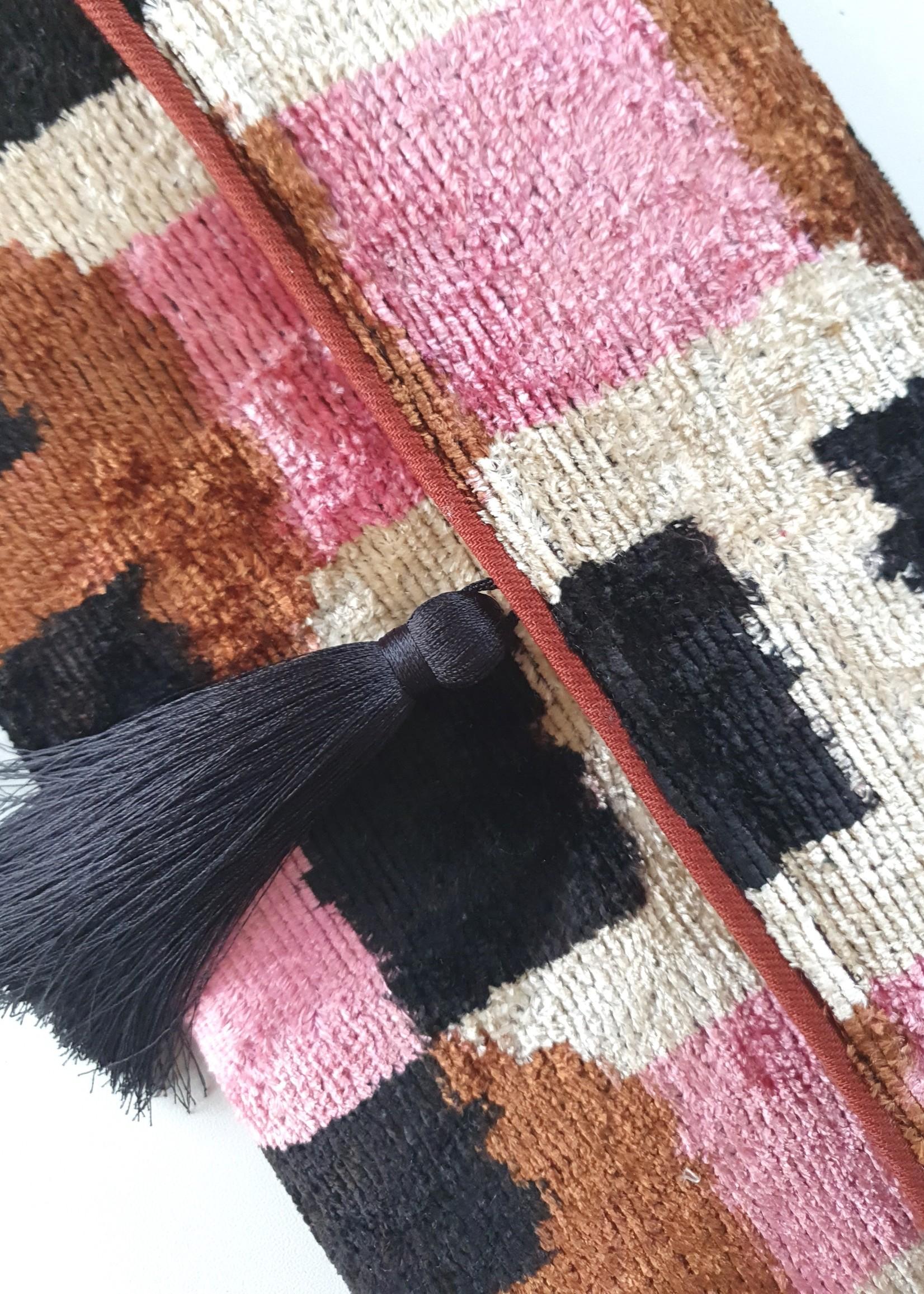 Ikat silk velvet clutch 8