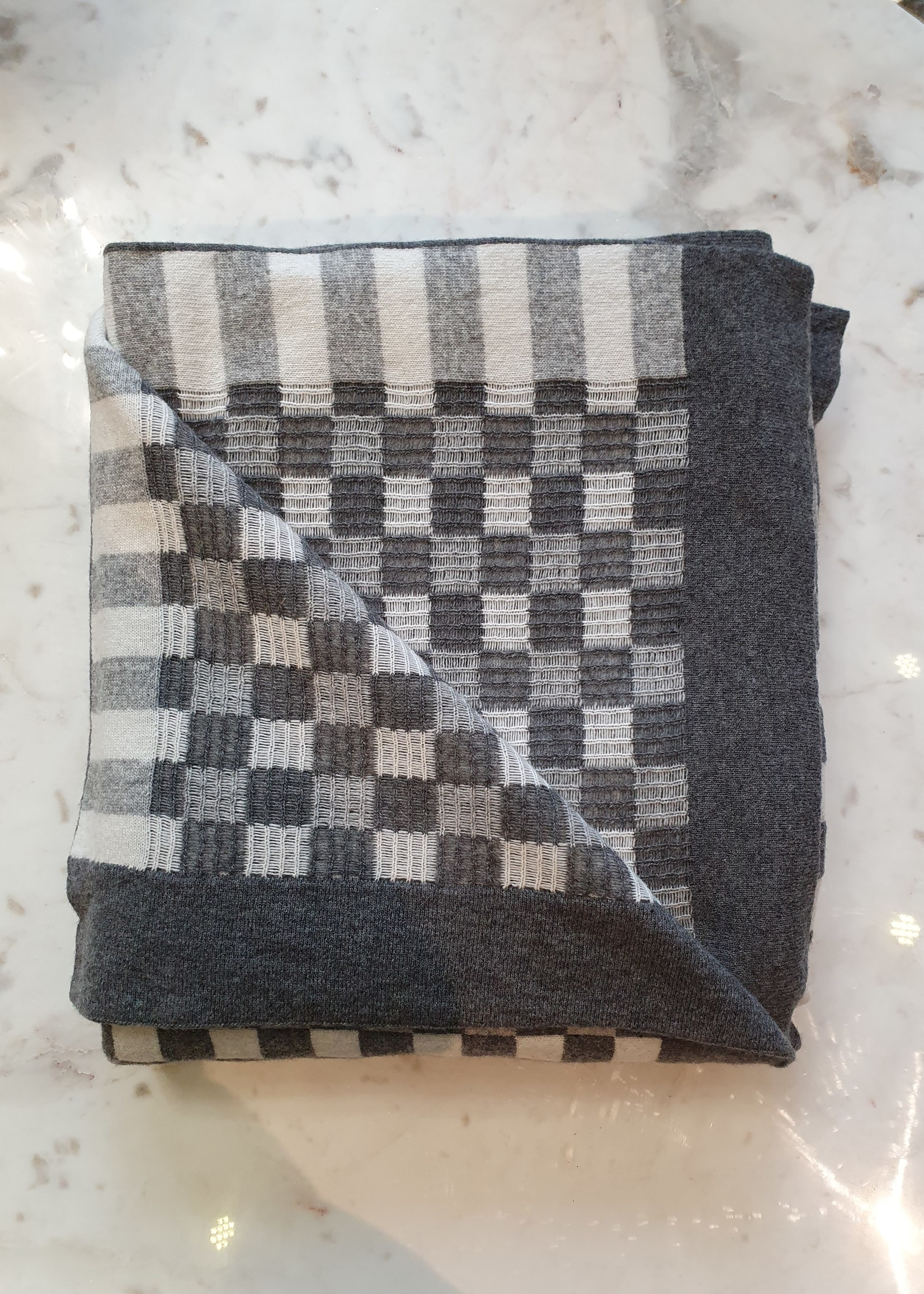 Victor & Linton Plaid Damice , grijs / gebroken wit, 130x180cm