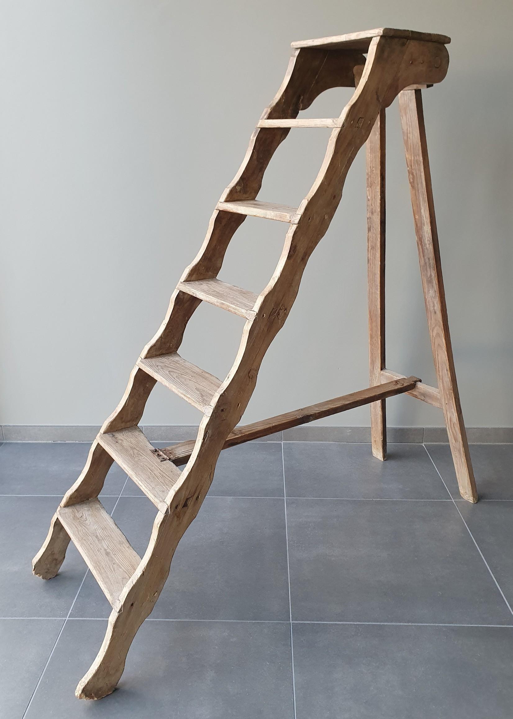 Oude zeldzame houten trapladder