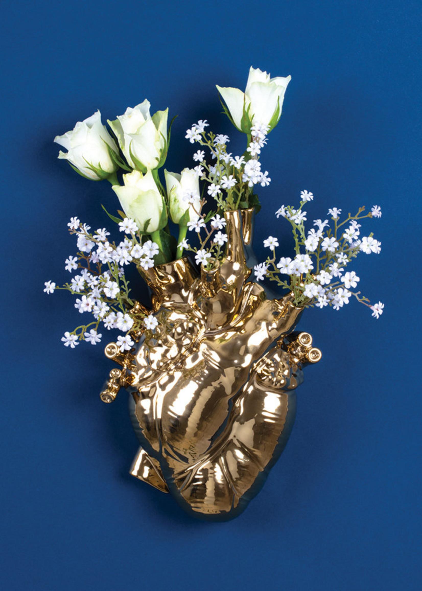 """Seletti """"LOVE IN BLOOM"""" PORCELAIN HEART VASE GOLD"""