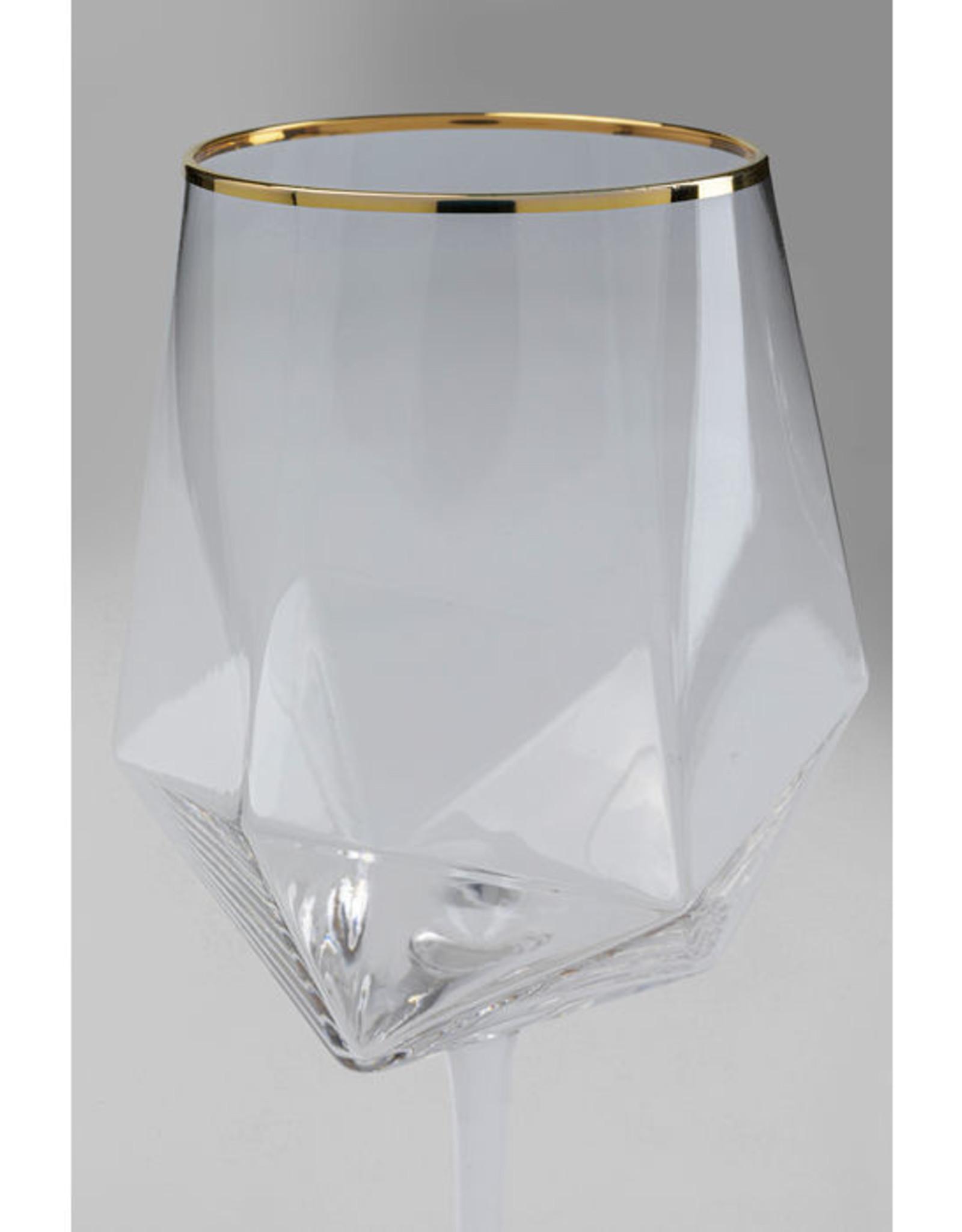 KARE DESIGN Wine Glass Diamond Gold Rim