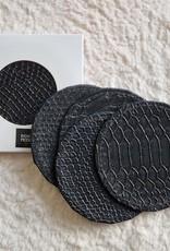 EIGHTMOOD Allie, Coaster, dia10xH0.2cm, Black, set x4