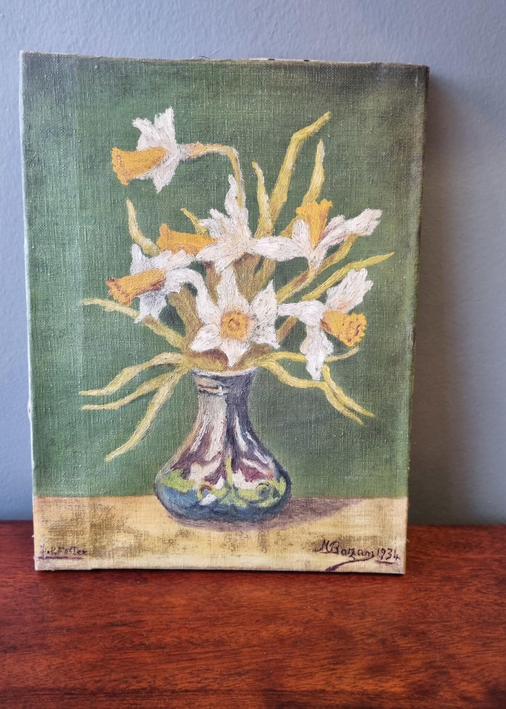 Vintage schilderij Narcissen 30 x 24 cm