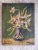 * SOLD * Vintage schilderij Narcissen 30 x 24 cm