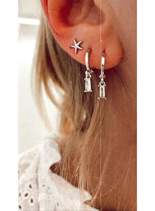 CUBE PLATED EARRING - SILVER