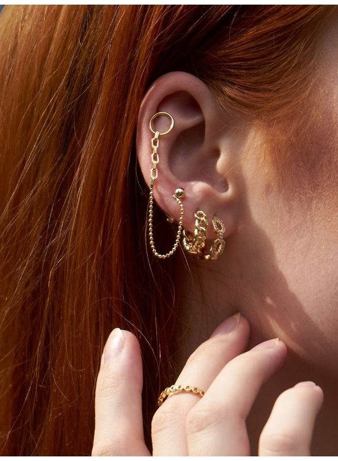 SPHERE CHAIN PLATED EARRING - SILVER