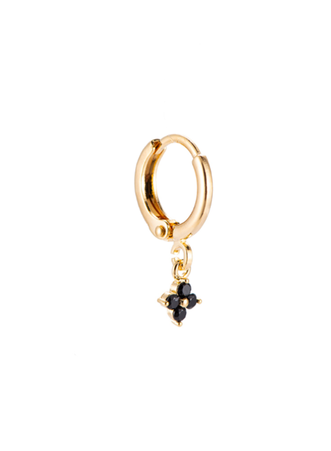 TINY FLOWER PLATED EARRING - BLACK & GOLD