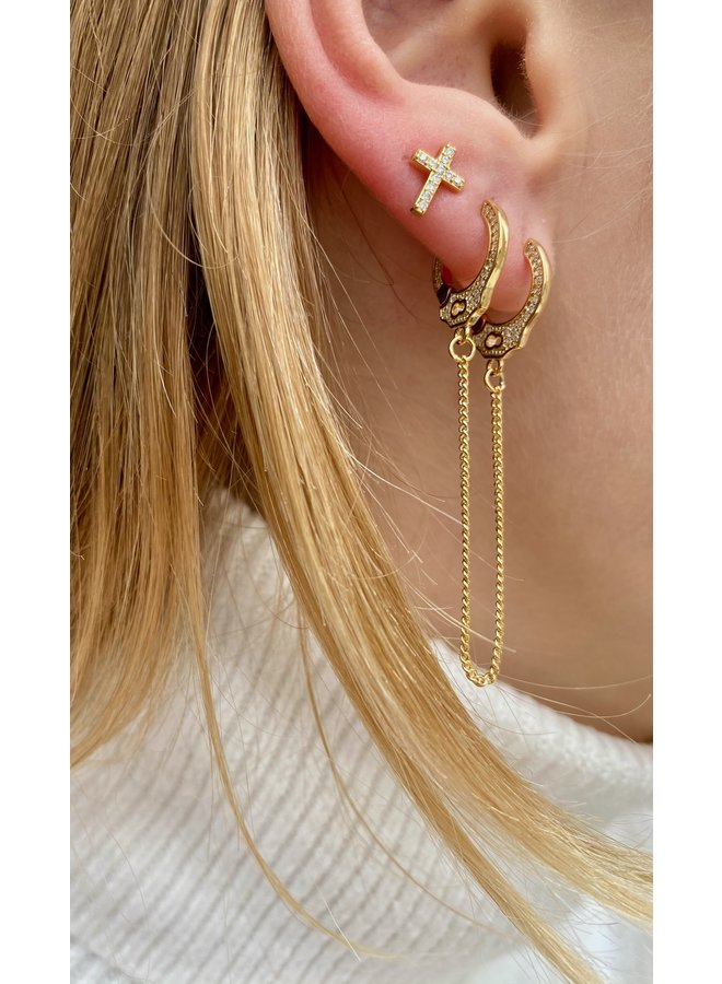 HANDCUFF GOLD PLATED EARRING