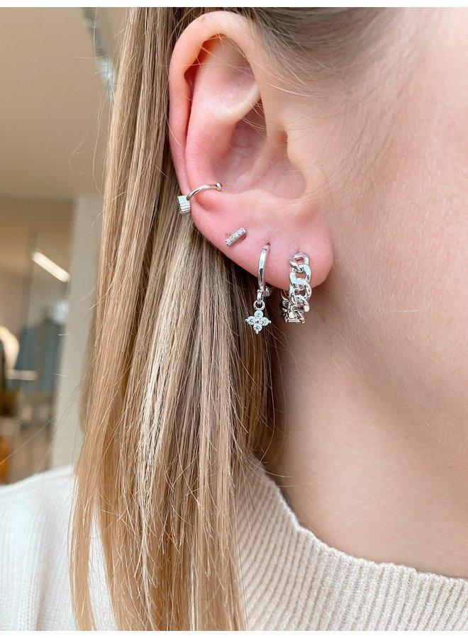 CHAIN HOOP STAINLESS STEEL EARRING - SILVER